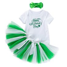 где купить 3pcs Newborn Clothes Baby Girl Short Sleeved Romper With Shamrocks Tutu Skirt Bow-knot Headband Baby Girl Clothes Sets дешево