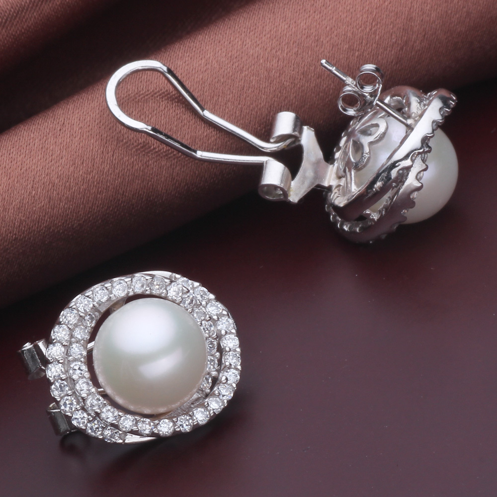 Natural pearl earrings 925 clip pearl earrings for women ...