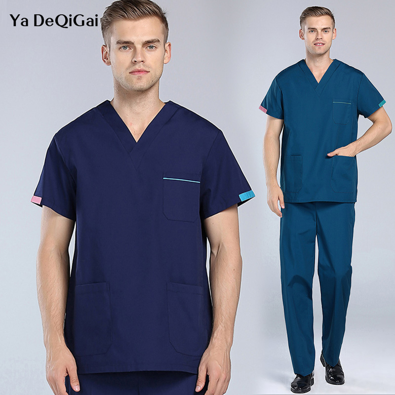 Été nouveau col en v médecin infirmière uniforme hôpital médical travail vêtements Salon de beauté gommage ensemble court médical spa uniforme blouse de laboratoire