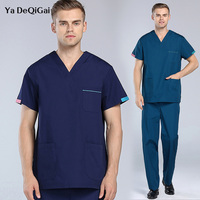 Summer New V Neck Doctor Nurse Uniform Hospital Medical work Clothes Beauty Salon Scrub Set Short medical spa uniform lab coat