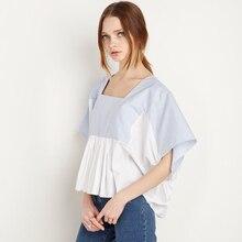 Summer Preppy Style Ladies Brand Female Shirt Batwing Sleeve Sweet Kawaii Striped Blouse Massimo Large Sizes Cropped Shirt