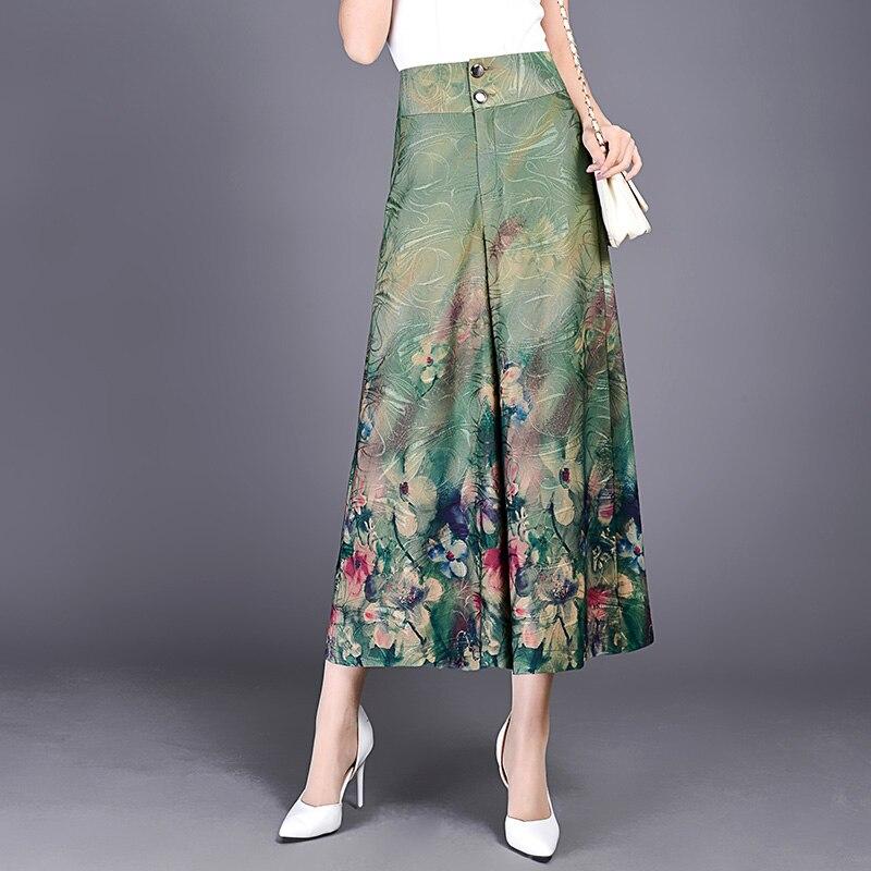 New Calca Feminina Summer   Wide     Leg     Pant   Flower   Pant   Broeken Woman Chiffon Female Capris Pattern Skirt Trousers Women Culottes