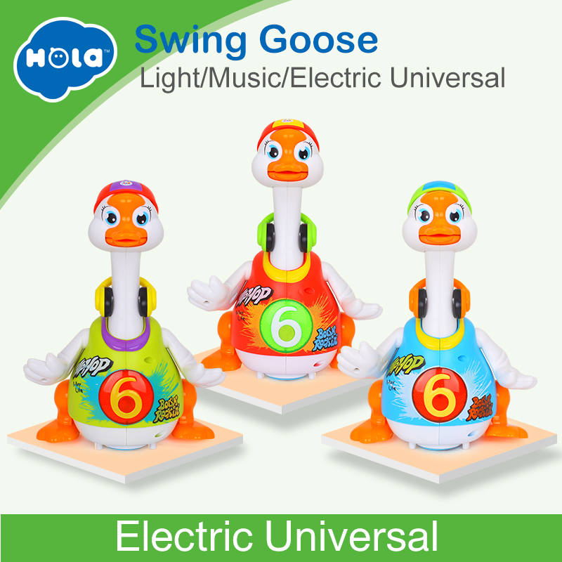 HUILE juguetes 828 del bebé juguetes eléctricos Hip Pop Dance leer y contar la historia y interactivo Swing Goose niños aprendizaje educativo juguetes regalos