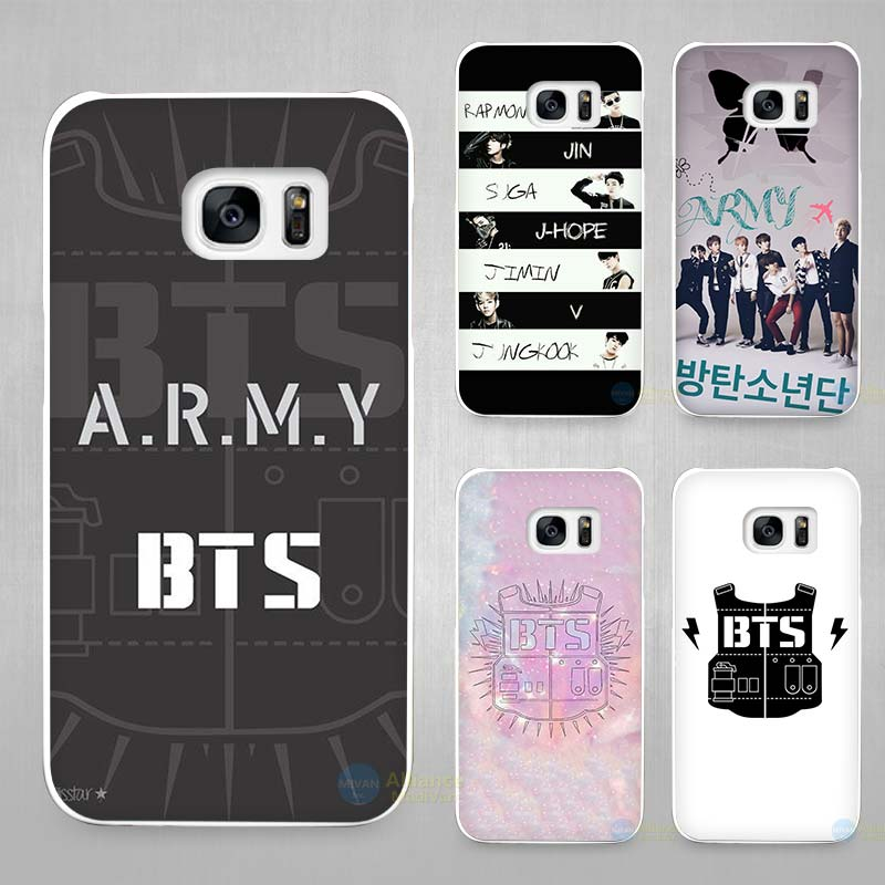 online store 4f049 a9a30 BTS Bangtan Boys music logo Hard White Coque Shell Case Cover Phone Cases  for Samsung Galaxy S4 S5 S6 S7 Edge Plus