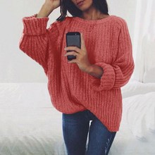 2019 woman sweater autumn and winter solid o neck womens sweaters plus size pink women pullover loose knitted