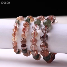 Top Quality Natural Copper Rutilated Quartz Colorful Crystal Bracelet Woman Man Round Beads 8mm 9mm 10mm 11mm 12mm 13mm AAAAA