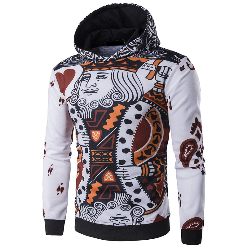2018 Autumn Spring Men Hoodies 3D Playing Cards Poker King Printing Sweatshirts Hip Hop Leisure Hooded Mens Hoody Pullover