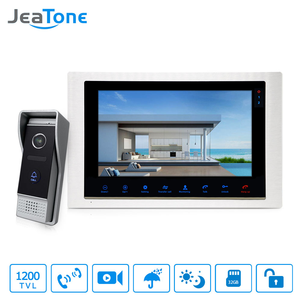 JeaTone 10 wired Door Phone home Intercom Video doorbell monitor Intercom With 1 Camera 1200TVL High Resolution jeatone video phone home intercom audio doorbell 3 7mm pinhole cameras with 4 indoor monitor screen wired office intercom