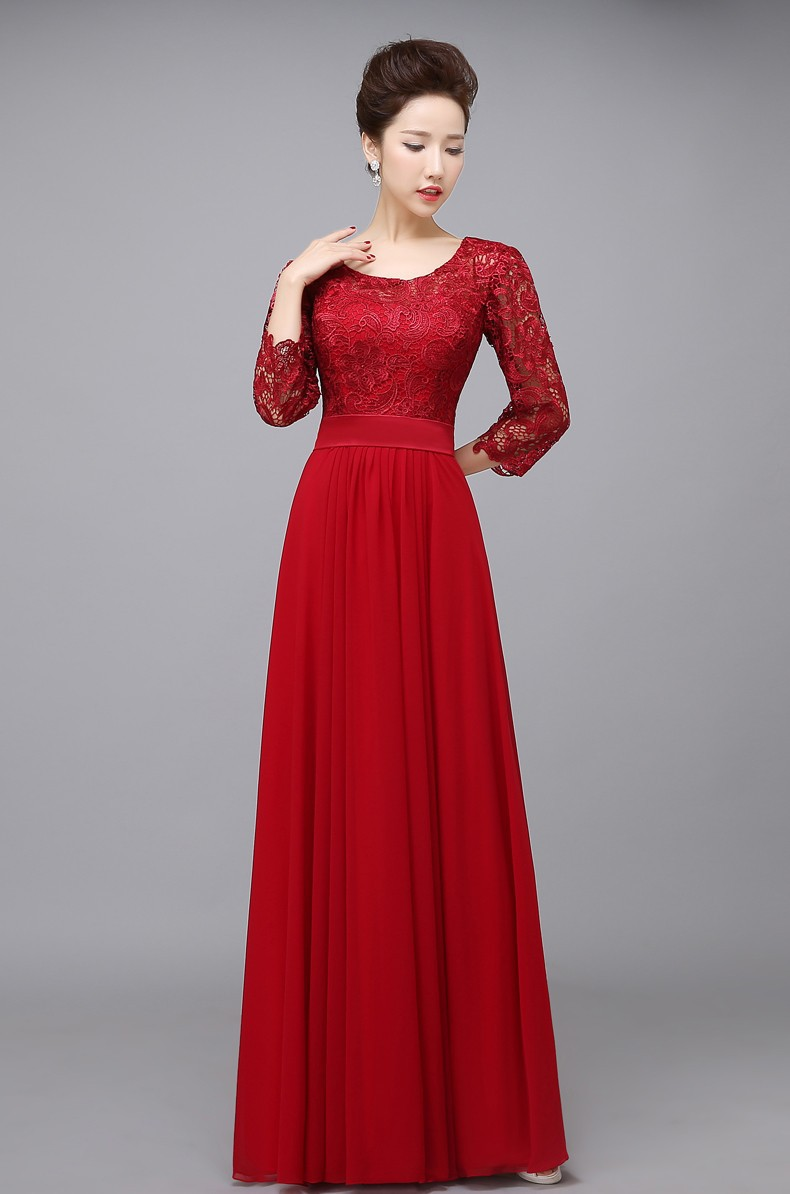 O-neck A-line Chiffon Long Mother Of The Bride Lace Dress 1
