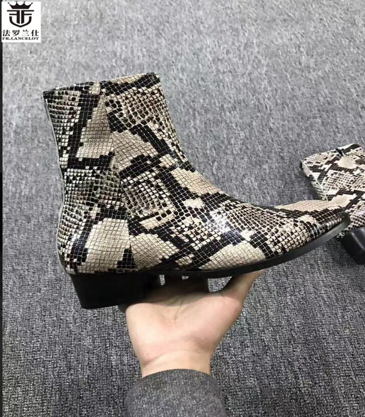 FR.LANCELOT 2018 cool snakeskin print leather boots fashion real Leather ankle shoes high top zip up motorcycles men booties fr lancelot 2018 new arrival star boots men real leather boots glitter sequin leather booties zip up men party shoes
