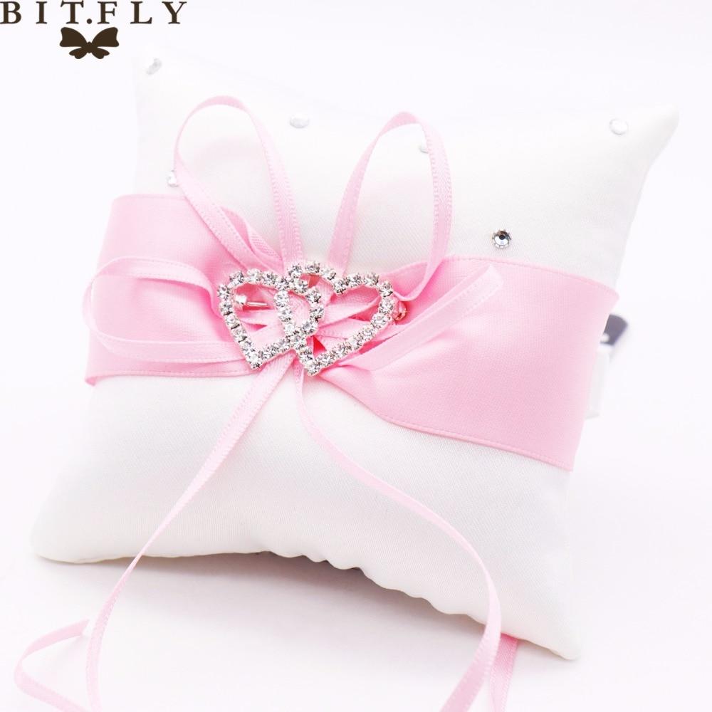 Wedding Rings Pillows Holder Satin Ribbon Bowknot Rhinestones Double ...
