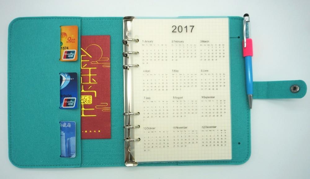 Wool Felt A5 A6 Vintage Loose Leaf Refillable Spiral Notebook Diary - Block och anteckningsböcker - Foto 4