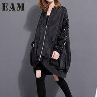 [Eam] 2017 الربيع أزياء جديدة مطرزة طوق بأكمام طويلة معطف فضفاض حجم كبير سستة سترة 1023A1
