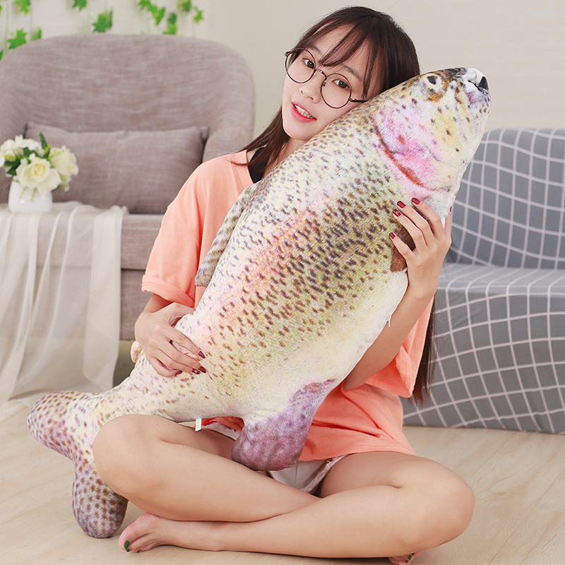 купить 40-80cm Cute Simulation Fish Plush Toy Stuffed Animal Trout Fish Toys Dolls Kids Children Creative Funny Soft Pillow Party Gifts по цене 344.74 рублей