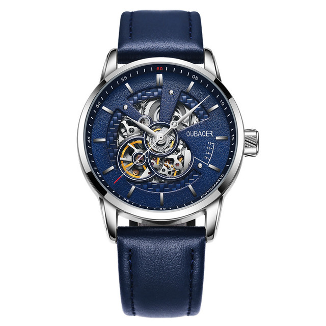 OUBAOER Top Brand Luxury Automatic Watch Men Business Sport Watches Leather Retro Relogio Masculino Skeleton Mechanical Watch | Fotoflaco.net