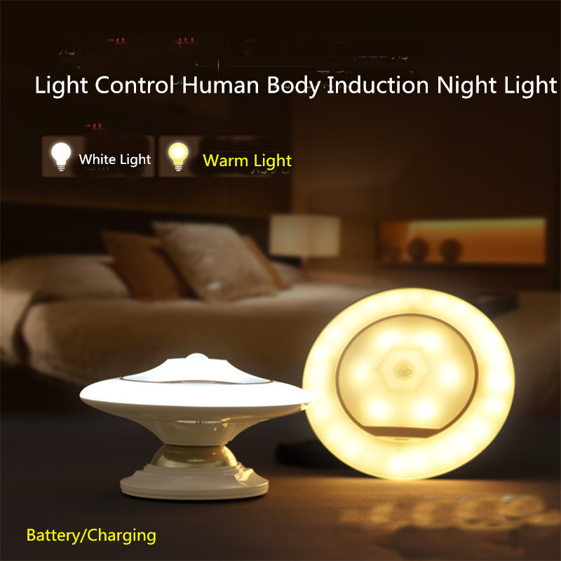 CLAITE 360 Degree Rotating Rechargeable LED Night Light Security Wall Lamp Infrared Sensor Light For Bedroom Stair Kitchen Light