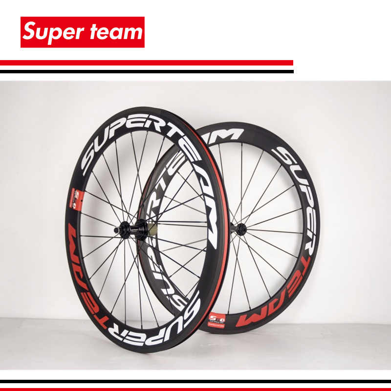Superteam carbono clincher 700c 60mm ruedas de bicicleta de carretera UD mate