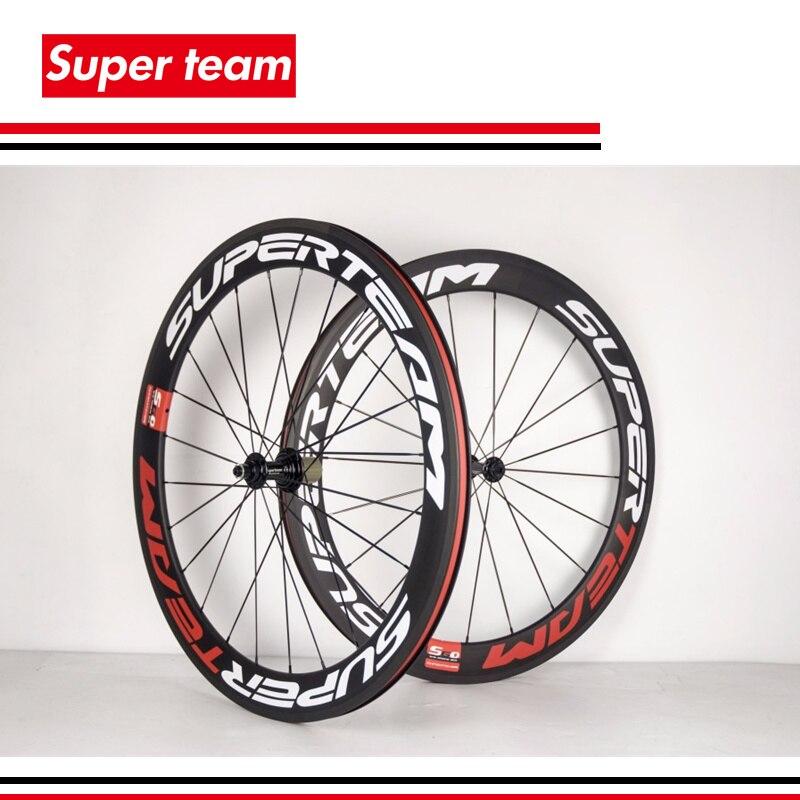 Roues de vélo de route Superteam carbone 700c 60mm finition mate largeur 23mm