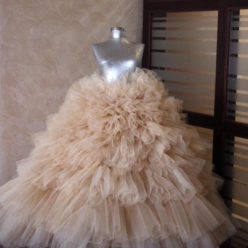 シャンパン高級パフィー女性のスカートチュチュチュールプリーツスカートカスタムメイドマキシウエディングスカート新デザインかわいいフォーマルなパーティースカート  グループ上の レディース衣服 からの スカート の中 1