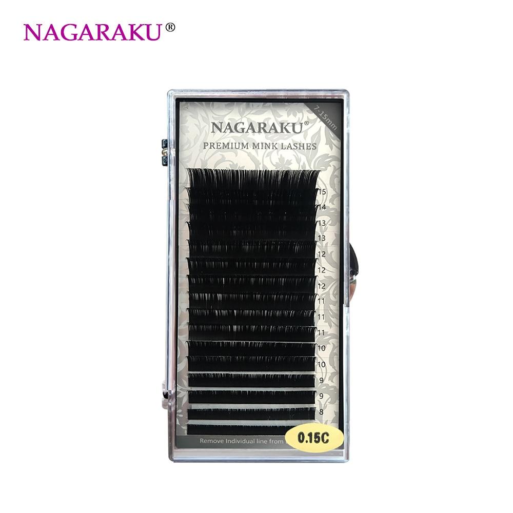 NAGARAKU J B C D Curl Length 7-15mm Mixed In One Tray Eyelash Extensions Individual Faux ...
