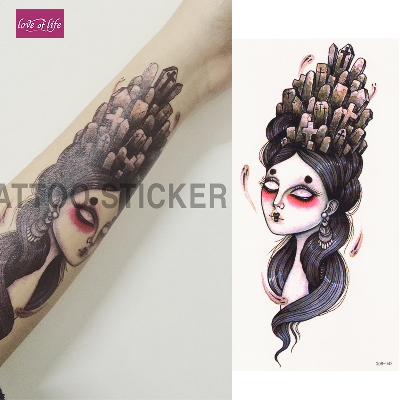 1 Piece 3D Cross Woman Flash Tattoo Hot Large Animal Temporary Tattoo Waterproof Tattoo Sticker For Women Men