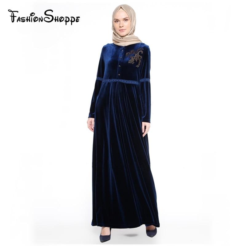 Baru Ukuran Besar Baju Muslim Beludru Solid Berlian Imitasi Kasual Abaya  Arab Pakaian Dubai Kaftan Muslim c36fc52eb9