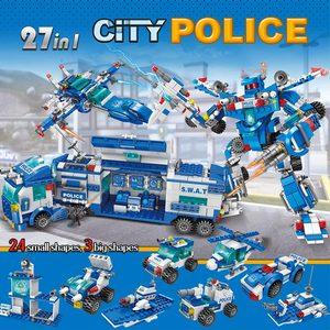 Image 2 - Городской полицейский участок автомобиль полицейский Робот строительные блоки кирпичи развивающие игрушки для детей Совместимые спецназ военные