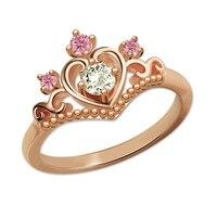 로맨틱 탄생석 공주 티아라 반지 로즈 골드 색상 사용자 정의 크라운 링