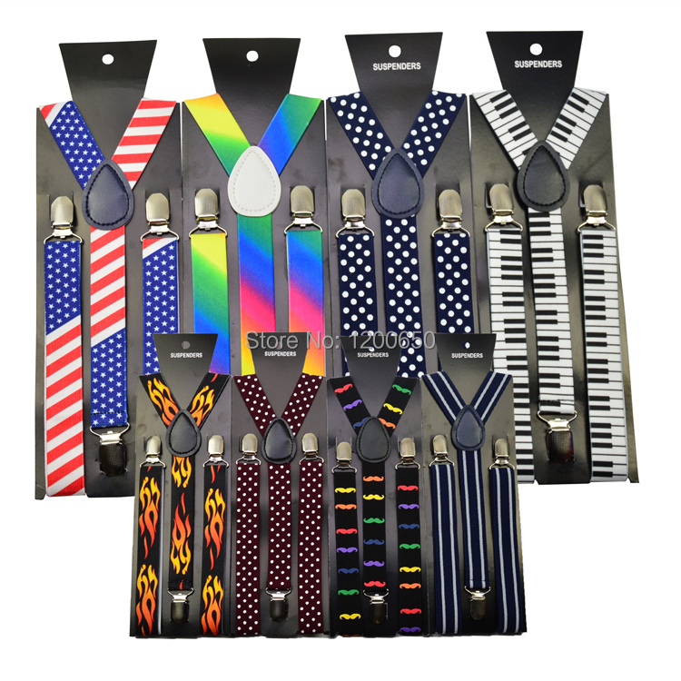 Suspender Braces 1inch Elastic Rainbow-Color Polka-Print Black Women White Piano-Key
