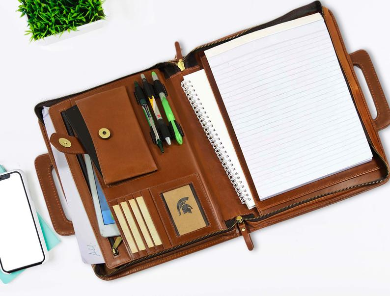 Genuine  Leather Personalized Portfolio Journal Gift Portfolio Pad Folio Zipper Free Name Engraved Business Portfolio|Padfolio| |  - title=