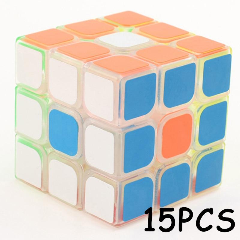 15 pièces YJ YongJun 3x3x3 autocollant Coloré Transparent Professionnel cube Magique Vitesse Puzzle Neo Cube Jouets Éducatifs Pour Enfants