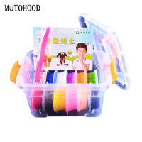MOTOHOOD 8 12colors Snow Clay Intelligent Plasticine And Tool Kit Dynamic Sand Hand Gum Play Dough