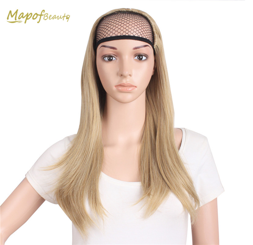 Long Straight Blond Dark Brown Natural Half Wig For Women Heat Resistant Synthetic Clip In Hair Extensions Fake Hair Mapofbeauty Agreeable Sweetness