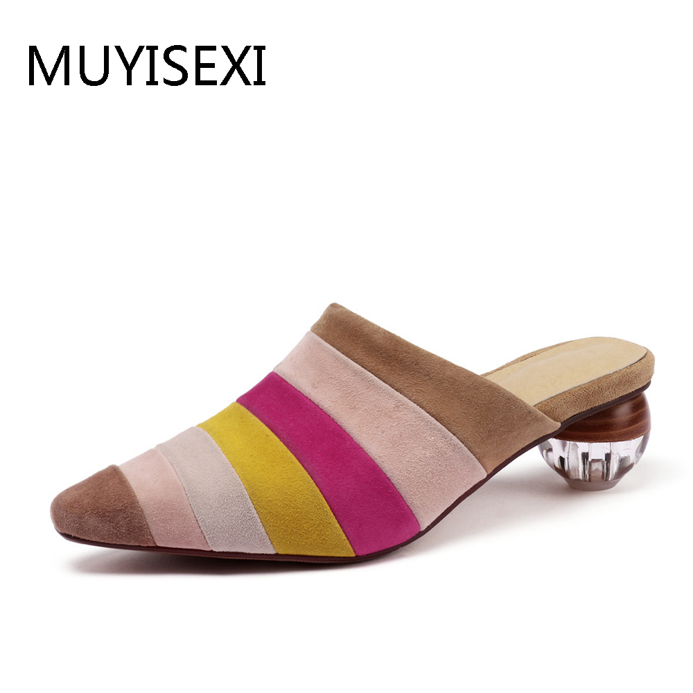 Mixed Colors Mules Stripe Pointed Toe Genuine Leather 4 5cm High Heels Transparent Crystal Slippers Women