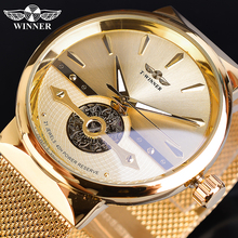 זוכה זהב זכר שעונים אוטומטי עסקי שעון יד שלד אנלוגי רשת פלדה בנד עצמי רוח מכאני Reloj Hombre Saat
