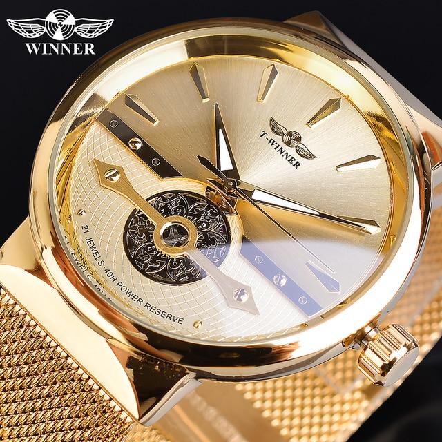 Zwycięzca złote męskie zegarki automatyczny biznesowy zegarek na rękę szkielet analogowy siatkowy pasek stalowy własny wiatr mechaniczny Reloj Hombre Saat