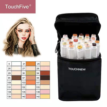 TouchFIVE 12/24 Colors Sketch Skin Tones Marker Pen Artist Double Headed Alcohol Based Manga Art Markers brush pen 12 colors skin tones soft brush markers set alcohol based sketch marker pen for manga professional drawing art supplies
