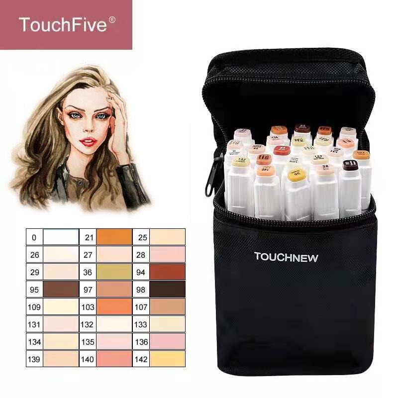 TouchFIVE 12/24 Cores Esboço Caneta Marcadora Artist Dirigido Dobro Tons de Pele À Base de Álcool Mangá Marcadores Da Arte pincel caneta