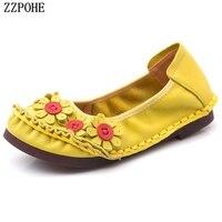 ZZPOHE Autumn New National Wind Flowers Women Flat Shoes Women Handmade Genuine Leather Shoes Ladies Footwear Soft Slip on Flats
