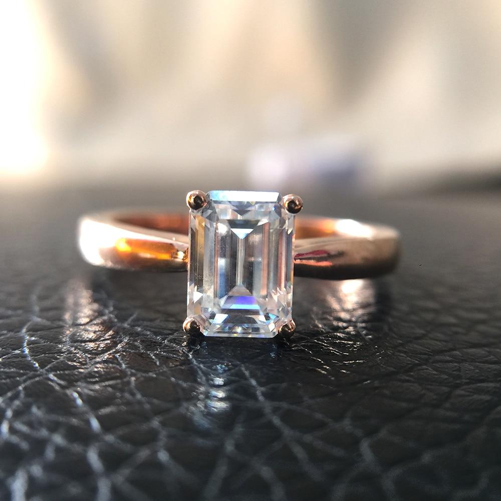 1ct 5x7mm G VVS szmaragdowy doskonały krój Moissanite pierścionek zaręczynowy pasjans srebro dla kobiet