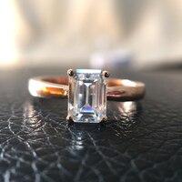 2.7ct 9*7 mét DEF Không Màu Emerald Tuyệt Vời Cắt Moissanite Engagement Ring Solitaire 14 K Rose Gold for Women