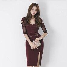 CINESSD OL Bag Hip Hollow-Out Lace Dress 2019 Women Summer korea V-neck Waist Mid Long Sleeve Office Dress Vestidos Plus Size недорого