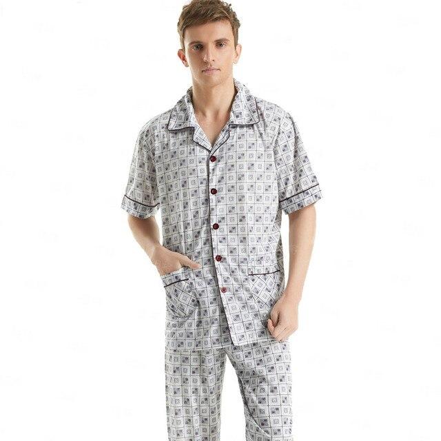 Sales!Short-Sleeved Men's Sleepwear Classic Plaid Pajama Sets Plus Size Sleep/Lounge Mens Cotton Pyjamas Perfect For GIfts