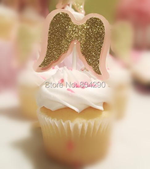 Cute Pink And Gold Glitter Angel Wing Shape Cake Decoration Baby
