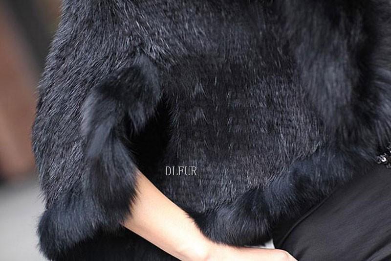 Hot Sale Genuine Mink Fur Shawl With Fox Fur Trim Women Natural Mink Fur Poncho Winter Knitted Mink Fur Jackets DL6235 (13)