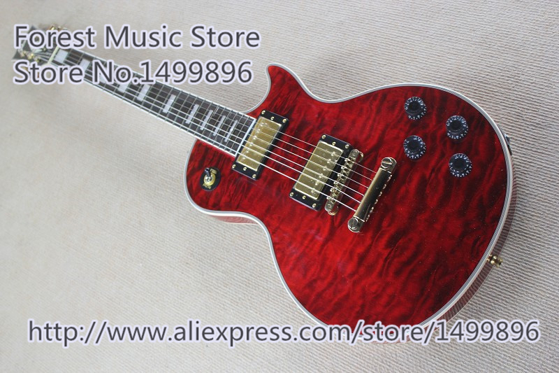 High Quality Quilted Finish LP Custom Guitars Electric China Gold Hardware Guitar For Sale недорго, оригинальная цена