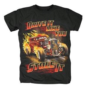 Image 1 - Sanguhoof Hot Rod classique voiture ancienne conduire comme vous lavez volé t shirt à manches courtes hommes t shirts unisexe hauts t shirt taille asiatique