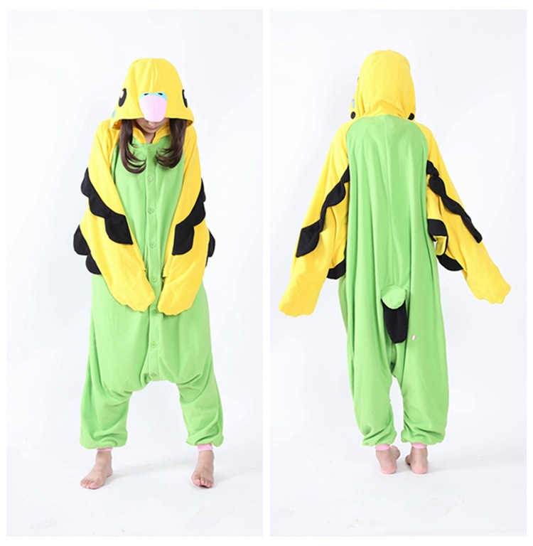 blue green parrot  Kigurumi Onesies Cosplay Costumes 2019 Shark women Hooded animal cartoon pajamas monokuma Kigurumi Jumpsuits