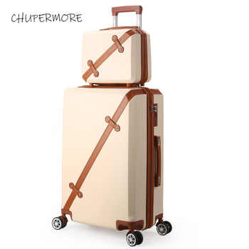 Chupermore Fashion Retro Rolling Luggage Sets Spinner Cute Suitcase Wheels 20 inch Women Carry On Travel Bags Password Trolley - DISCOUNT ITEM  30% OFF All Category