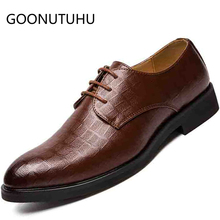 2019 new fashion men's shoes casual leather male classic brown black lace up shoe man big size 6-13 party shoes for men hot sale